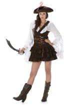 Bruin-wit piraten kostuum voor vrouwen  - Verkleedkleding - Small