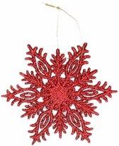 Kerstboom decoratie rode glitter sneeuwvlok hanger 10 cm type 3