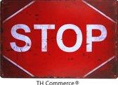 METALEN WANDBORD - STOP - WANDDECORATIE - RECLAMEBORD - MUURPLAAT - VINTAGE - RETRO - TEKST - DECORATIEBORD - NOSTALGIE ART - 30x20 cm - TH Commerce® - nr 7747