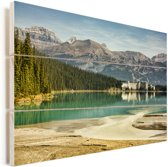 Omgeving in het Nationaal park Banff in Canada Vurenhout met planken 120x80 cm - Foto print op Hout (Wanddecoratie)