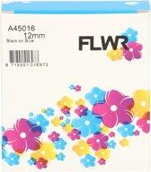 FLWR - Printetiket / 45016 12mm zwart op blauw - Geschikt voor Dymo