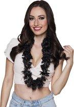 72 stuks: Hawaikrans Glamour - zwart met zilveren tinsel