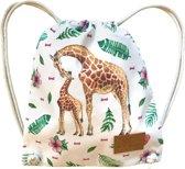 Kinderrugzak Giraf - stevige canvas peuter- of kleuterrugzak als schooltas, gymtas of zwemtas - dik trekkoord - wasbaar