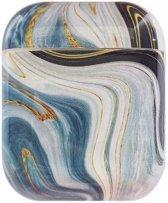 Airpods Marmer Case Cover - Beschermhoes - Blauw - Geschikt voor Apple Airpods