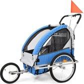 vidaXL Kinderfietskar en wandelwagen 2-in-1 blauw en grijs