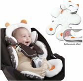 Baby kussen - Stoelverkleiner- Autostoelkussen- Kinderwagen kussen- Buggy- Kinderzitje- Comfort- Wit-Bruin