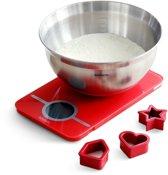 Brabantia Bakset - Keukenweegschaal, Mengschaal en Koekvormpjes -  Passion Red