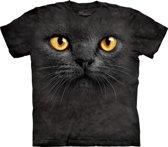 T-shirt zwarte kat met gele ogen S