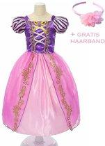 Rapunzel jurk Prinsessen jurk verkleedjurk 128-134 (140) roze paars met broche + GRATIS haarband