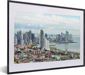 Foto in lijst - Uitzicht over Panama Stad fotolijst zwart met witte passe-partout klein 40x30 cm - Poster in lijst (Wanddecoratie woonkamer / slaapkamer)