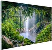 Foto van regenwoud met waterval Glas 180x120 cm - Foto print op Glas (Plexiglas wanddecoratie) XXL / Groot formaat!
