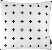 Swiss Cross Kussenhoes | Katoen/Flanel | 45 x 45 cm | Zwart-Wit