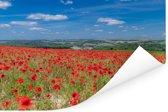 Rode klaprozen in het Engelse Nationaal park South Downs Poster 180x120 cm - Foto print op Poster (wanddecoratie woonkamer / slaapkamer) XXL / Groot formaat!
