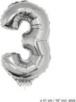 Helium Ballon Nummer 3 - Zilver - 41 Cm