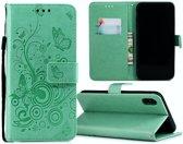 Apple Iphone XR Bookcase hoesje Vlinders/takjes (mintgroen)