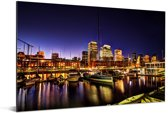 Nacht in Puerto Madero bij Buenos Aires in Argentinië Aluminium 30x20 cm - klein - Foto print op Aluminium (metaal wanddecoratie)
