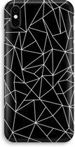 iPhone X Volledig Geprint Hoesje (Hard) - Geometrische lijnen wit