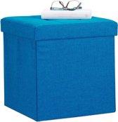 relaxdays zitkist met opslagruimte - opvouwbaar - van linnen - 38 x 38 x 38 cm - poef blauw