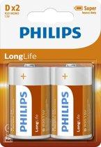 Philips R20L2B - D batterij - 2 stuks