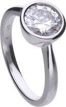 Diamonfire - Zilveren ring met steen Maat 19.0 - Steenmaat 8 mm - Kastzetting