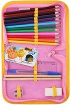 Emoji Etui Gevuld met 12 Gekleurde Potloden 2 Potloden 1 Pen Lineaal en Puntenslijper – 21x15cm