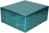 Inpakpapier/cadeaupapier petrol/gouden geometrische driehoek print 150 x 70 cm - Cadeauverpakking kadopapier