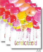 3x Dubbele A4 kaart met envelop - Gefeliciteerd - Formaat: 235 x 310 mm