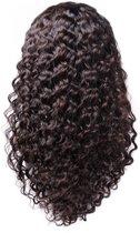 Front Lace Wig_100% Human Hair_ Braziliaanse Deep Curly, 12inch Pre Geplukt met Baby Haar