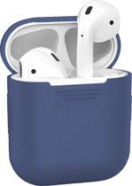 Afbeelding van Siliconen Bescherm Cover Case voor Apple AirPods Hoes - Blauw Grijs