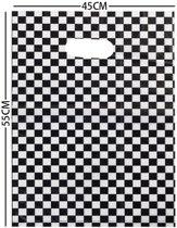 Cadeautas Geruit - Kunststof Tasjes - Set van 100 stuks - 55x45 cm - Dielay