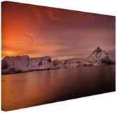Zonsondergang branding Canvas 80x60 cm - Foto print op Canvas schilderij (Wanddecoratie woonkamer / slaapkamer)