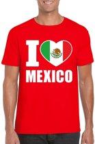 Rood I love Mexico supporter shirt heren - Mexicaans t-shirt heren S