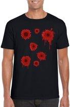 Halloween - Schotwonden t-shirt zwart heren voor Halloween of gangster outfit L