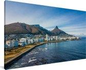 Luchtfoto van de kustlijn van Kaapstad in Zuid-Afrika Canvas 80x40 cm - Foto print op Canvas schilderij (Wanddecoratie woonkamer / slaapkamer)