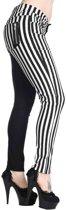 Half Black Half Striped Trousers-Black/White - M - Banned