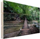 Brug in de jungle bij Palenque in Mexico Vurenhout met planken 60x40 cm - Foto print op Hout (Wanddecoratie)