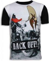 Back Off - Digital Rhinestone T-shirt - Zwart