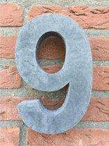 Grote betonnen huisnummer, Hoogte 25cm, huisnummer beton cijfer 9