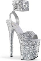 EU 38 = US 8 | FLAMINGO-891LG | 8 Heel, 4 PF Glitter Ankle Strap Sandal
