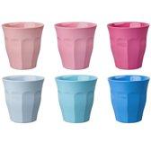 GINGER Medium Cup set - 6 melamine bekers - roze/blauw
