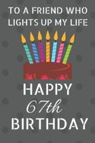 To a friend who lights up my life Happy 67th Birthday