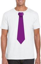 Wit t-shirt met paarse stropdas heren M
