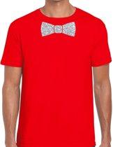 Rood fun t-shirt met vlinderdas in glitter zilver heren - shirt met strikje S
