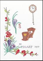 Thea Gouverneur Borduurpakket 863A Geboortetegel Maart - Aida stof 100% katoen