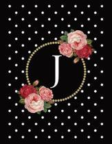 Black and White Polka Dot Vintage Floral Monogram Journal with Letter J
