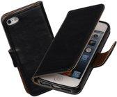 MiniPrijzen - Zwart vintage lederlook bookcase voor de iPhone 5 5s SE wallet hoesje flip cover iPhone 5 5s SE telefoonhoesje - smartphone hoesje - beschermhoes