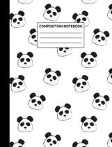 Composition Notebook: Panda Bear Heads Pattern Wide Ruled Lined Note Book - Cute Black & White Exercise Journal with Lines for Kids, Teens,
