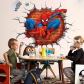 Muursticker Spiderman uit muur (3D) | kinderkamer - jongenskamer | cartoons - tv/film