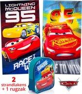 Disney Cars strandlaken kinderen 70x140 | set 2 stuks + rugzak | set badhanddoeken | BS13