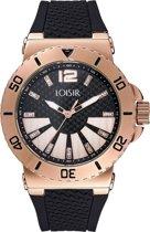 LOISIR horloge zwart -  rubber horlogebandje - 44 mm - IP rosé goud